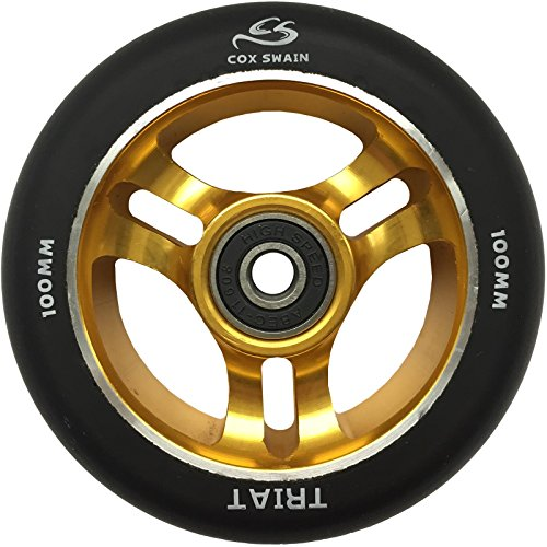 Cox Swain 2 STK. High End 100mm Stunt Scooter Rollen Alu Core - ABEC 11 Lager, TRIAT (Gold) - 100mm