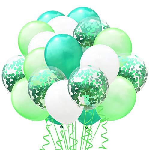 TOPWINRR 60 Stück Helium Party Ballon Hochzeit Deko Luftballons Geburtstag Kinder Latex Konfetti Ballons Dekoration (Grün)