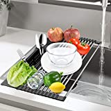 Roll Up Dish Drying Rack, Homchwell Multipurpose 20''L x 11''W Over The Sink Stainless Steel Dish Drying Rack with Utensil Holder, Foldable Over Sink Kitchen Dish Drainer Dish Drying Rack,Black