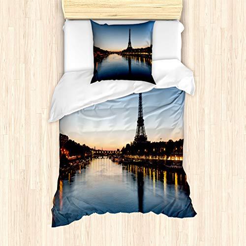 ABAKUHAUS Noche Funda Nórdica, Torre Eiffel en el crepúsculo, Decorativo, 2 Piezas con 1 Funda de Almohada, 135 x 200 cm, Azul pálido Amarillo