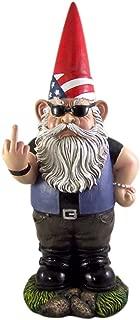 Wowser Large Patriotic Rebel Biker Garden Gnome Statue, 18 Inches