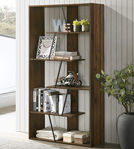 Giantex 4-Tier Industrial Bookshelf, Vintage Bookcase with Metal Frame, Standing Shelf Unit, Storage Shelves, Book Shelf for Living Room, Bedroom, Office, Brown