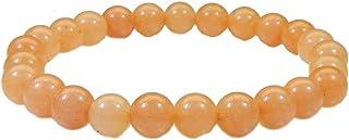 Myhealingworld Gorgeous Orange Quartz Stone 8mm Bead Size Elastic Stretch Bracelet