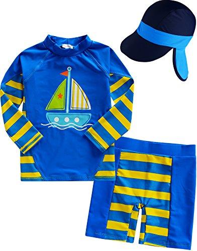 Vaenait baby 2T de 7T sau TONGLING garçons Rashguard Maillot de Bain avec flapcap 3pcs Set Beach Boy Large Flap Cap