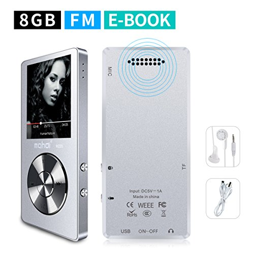 MYMAHDI 8GB Portable MP3 Player(Expandable Up to 128GB), Music Player/One-Key Voice Recorder/FM Radio 70 Hours Playback with External Speaker HD Headphone, Silver