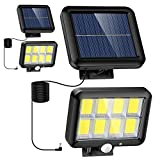 Flaow Solar Lights Outdoor- 2 Pack, 320 COB LED, Adjustable 3 Modes Motion Sensor Security Flood Light with 16.4Ft Cable, IP65 Waterproof Wall Lights for Garage Garden Yard Pathway(5800K, 2 Pack)
