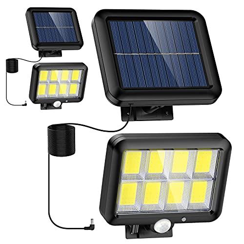Luces solares al aire libre - Paquete de 2 unidades, 320 COB LED, 3 modos sensor movimiento luz seguridad con cable 16.4 pies, IP65 luces pared impermeables para garaje, jardín, camino, etc