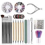 Anself 37pz Nail Art Design Set,10pz Set Pennelli Unghie,10pz Strisce per Nail Art,5 Adesivi per unghie,5pz Painting Dotting Detailing Pen,2pz Decorazioni Strass con 5 Nail Tool Kit