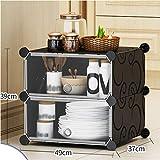 Hogar Aparador plástico Simple Armario Pequeño Uso multifunción Ensamble Locker Sencillo y Moderno Restaurante Armario de la Cocina del gabinete Negro XMJ (Size : 49X37X39cm)