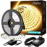 Olafus 10M Tira LED Regulable, Tira LED 12V Blanco Cálido 3000K, 600 LEDs 2835 con Adaptor y Regulator Cinta LED para Decoración Interior Fiestas, Jardín, Dormitorio, Escaleras, Cocina, Gabinete, Bar