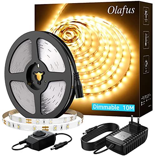 Olafus 10M Striscia LED Bianco Caldo 3000K Dimmerabile 600 LEDs, Strip LED Flessibile 12V Sicuro da Uso Alimentatore Incluso, per Armadio Camera Scale TV Arredo