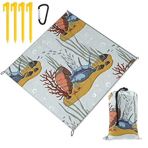 For Sale! Hucuery Picnic Blanket 59 X 57 in Pattern with Coral Reef Foldable Waterproof Extra Large ...