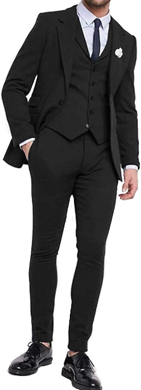 Men's Suit Single Breasted 3 Pieces Tuxedo 2 Button Blazer Jacket Vest Pants Wedding Suits