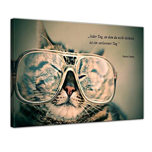 Wandbild mit Zitat - Jeder Tag, an dem du Nicht lächelst, ist EIN verlorener Tag. - (Charlie Chaplin) 80x60 cm - Sprüche und Zitate - Kunstdruck mit Sprichwörtern - Vers - Bild auf Leinwand