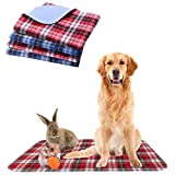 KOOLTAIL Washable Pee Pads for Dogs - Waterproof & Non-Slip Plaid Puppy Potty Training Pads, Reusable Whelping Pads, Pee Pad for Guinea Pig Cage, Dog Food Feeding Mat