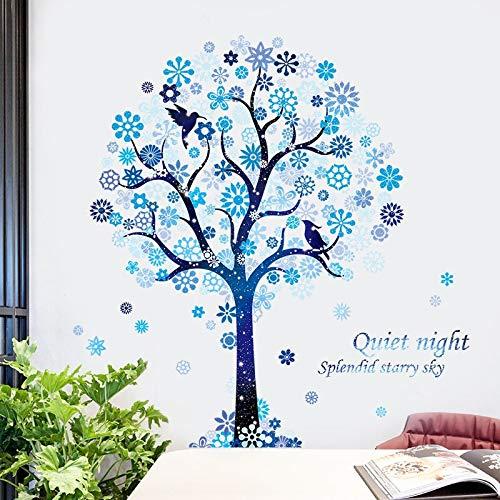Pegatinas de pared para niños con árbol de copo de nieve azul, decoración de dormitorio, calcomanía de vinilo para pared, pegatinas para puerta, Mural de baño