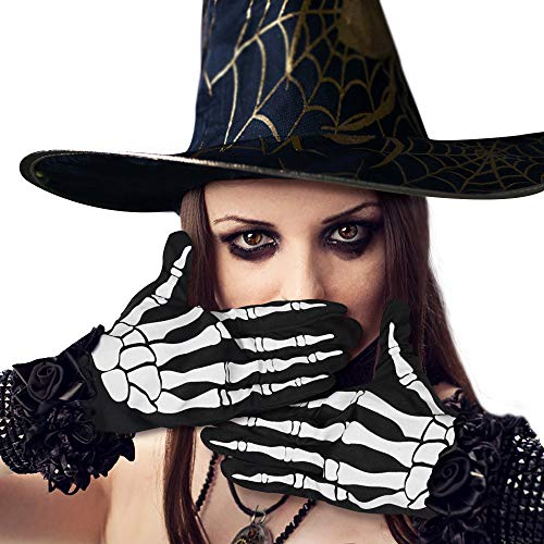 SOOFUN Halloween Skelett Handschuhe Kostüm Halloween- 2 Paar Schädelknochen-Vollfingerhandschuhe für Kinder/Herren/Damen, Cosplay Zubehör Ghost Skelett Handschuhe für Halloween Kostüm Party
