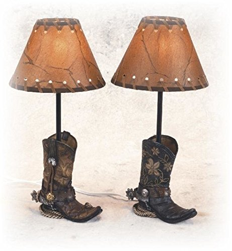 Hot Sale 14.5 Inch Brown Cowboy Boots Shaped Lamp Stencil Shade Set of 2