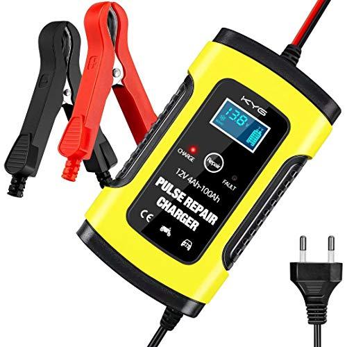 KYG Chargeur de Batterie Intelligent, Mainteneur 6A 12V, Affichage LCD, avec Prise Standard Européenne, Protections Multiples pour Batterie de Voiture, Moto, Tondeuse à Gazon ou Bateau