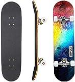 Eseewin Skateboard 7 Ebenen Decks 31'x 8' Pro Komplettes Skateboard Ahornholz Longboards für Jugendliche Erwachsene Anfänger Mädchen Jungen Kinder(Nebulae)