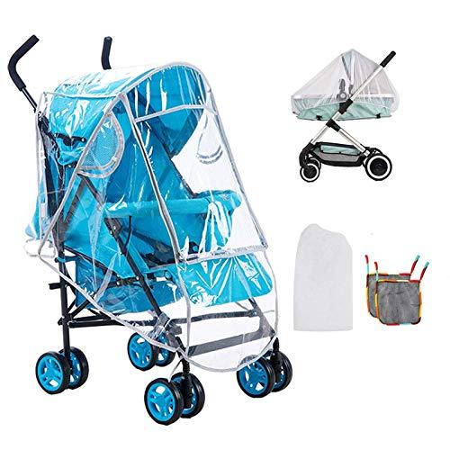 FOGAWA Regenschutz Kinderwagen Universal Regenverdeck Buggy Transparent Regencover Moskitonetz Kinderwagen mit Zwei Aufbewahrung Net Taschen
