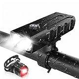 【1000ルーメンと高輝度自転車ライト】内蔵の2つの高品質T6 LEDライト、最大1000ルーメンの出力輝度により、夜間に最大500メートルの距離を照らすことができ、夜間の視認性と安全性を確保します。 調整された輝度モード(高輝度 低輝度 点滅)は、さまざまな屋外環境の輝度要件を満たすことができます。 【大容量および充電式バッテリー】2600 mAhの大容量バッテリーにより、バッテリー寿命が長くなります。ハイライトモードでの作業時間は6時間、低光量モードは18時間、フラッシュモードは12時間です...