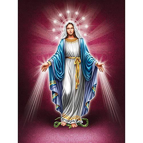 Jinjack Diamond Painting 5D DIY Diamond Painting Square Drill Religiöse Madonna 3D Strass Stickerei Kreuzstich Geschenk Home Decor Geschenk-50x70cm