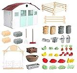Hiawbon Simulated Farm House Models Farm Animal Vegetable Fodder Figurines for Farm Scence Collection