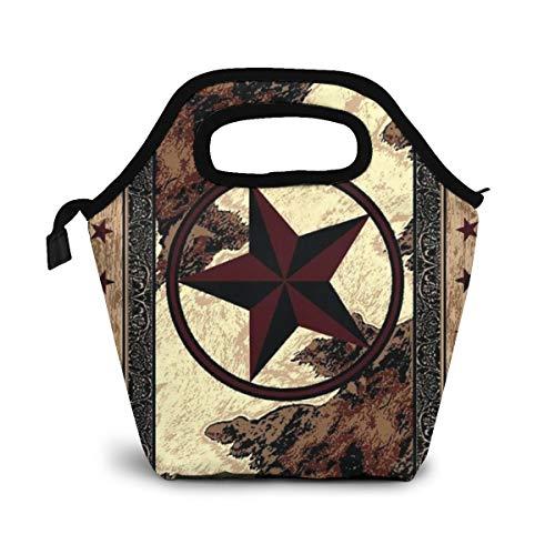 NiWCGP Western Texas Star Isolierte Lunch Tasche Tote für Frauen Kids Erwachsene Lunchbox Cooler mit Reißverschluss,Jungen, Mädchen, Herren