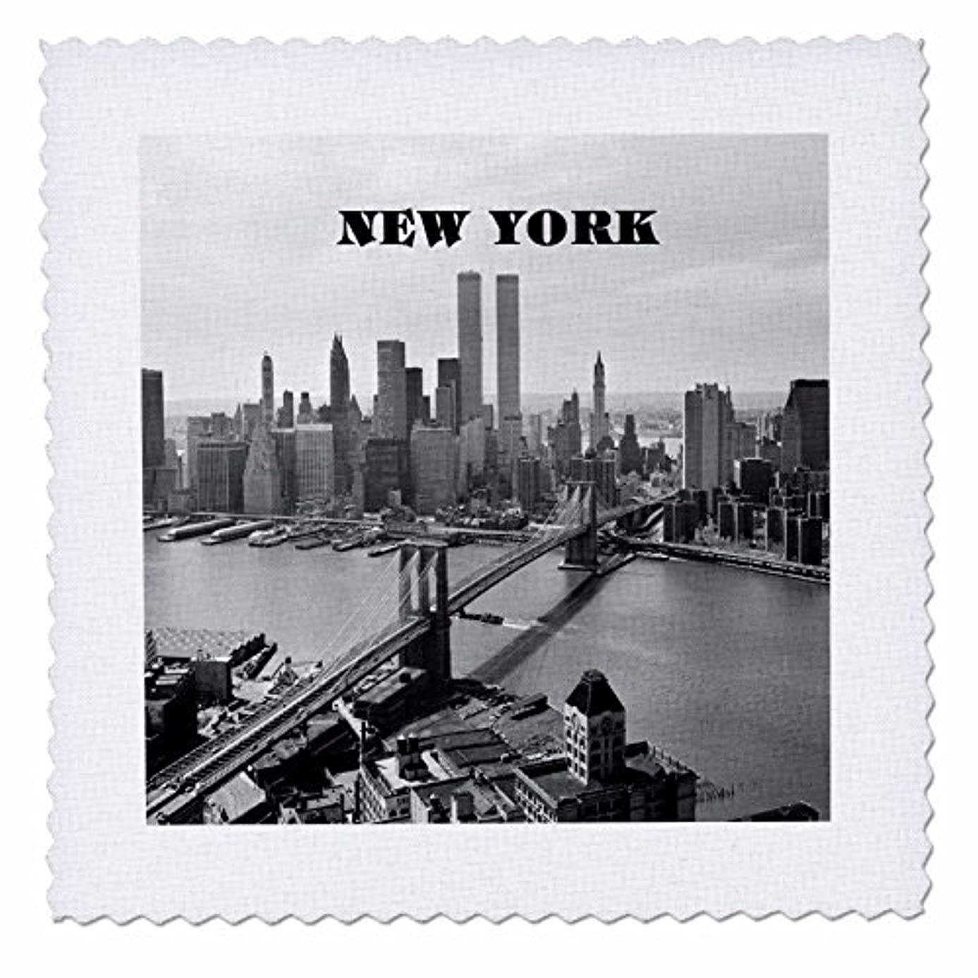 3dRose qs_80338_9 Black N White Picture of 1972 Brookly Bridge with Twin Towers Quilt Square, 22 by 22-Inch