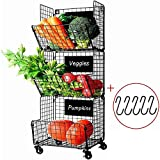 X-cosrack 3 Tier Metal Wire Baskets -Wall Storage Basket Organizer with Wheel, S-Hooks,Adjustable Chalkboards- Hanging Baskets for Kitchen,Fruit, Vegetables, Toiletries, Bathroom Rack(Black)