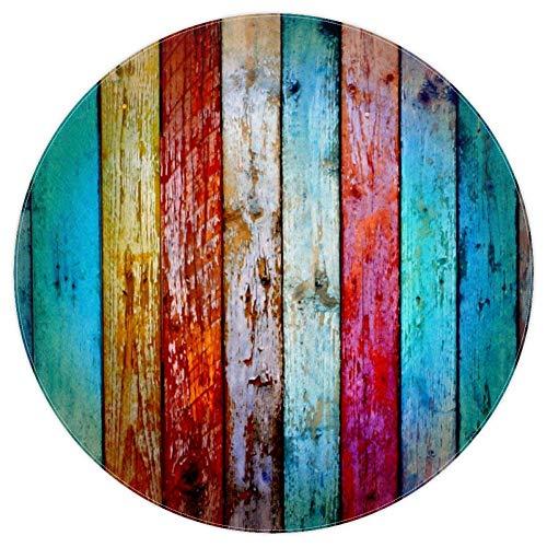 Bennigiry, Retro-Teppich, gewittertes Holz, weich, rund, modern, Memory-Schaum, rutschfest, waschbar, Wohnzimmer, Schlafzimmer, Spielzimmer, Spielmatte, Kinderzimmer, 120 cm, multi, 5.2ft-160cm