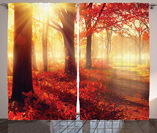 """Ambesonne Woodland Curtains, Sun Beams Through Misty Old Forest in Fall Season Morning View Dreamy Picture, Living Room Bedroom Window Drapes 2 Panel Set, 108"""" X 84"""", Yellow Red"""