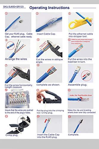 VCE (1. Gen.) 10 Sets Crimpstecker CAT7, CAT6A RJ45 Netzwerkstecker POE für Verlegekabel 10GBit LAN RJ45 Stecker Metall geschirmt mit Einfädelhilfe und Knickschutz