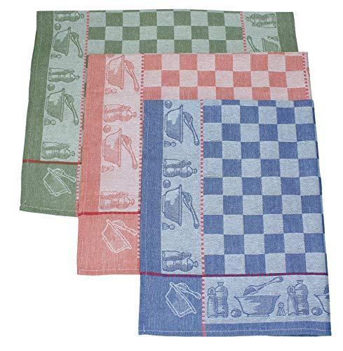 Betz Lot de 3 torchons en Lin mélangé Cuisine Taille 50x70 cm Couleur Bleu Vert et Rouge