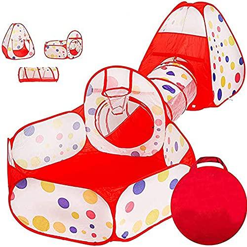 Tienda Campaña Infantil Casa de Campaña para Niñas - 3 en 1 Interiores Casas Jardin niños Casas Plegable, Piscina de Bolas + Casita Infantil + Tunel de Juego, Rose