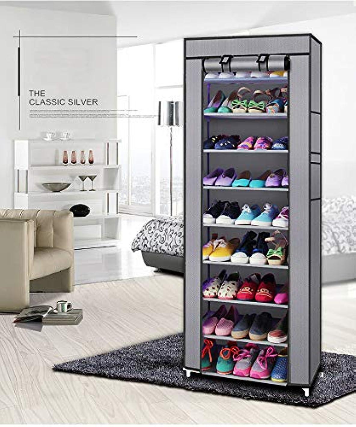 poppip 10 Layer Shoe Rack Shelf Storage Closet Organizer Dustproof Cabinet w/Cover