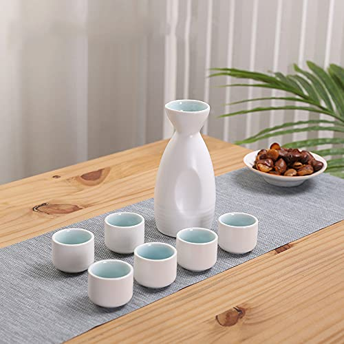LTLJTT Juego De Sake, 7 Piezas, Vasos Japoneses De Sake para Té Shochu De Sake Caliente Caliente Y Frío, Juego De Regalo De Cumpleaños para El Día,Blanco,Ordinary