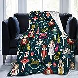 Cyloten Blanket Women's Nutcracker Ballet Xmas Dance Fleece Blanket Foldrable Throw Blanket Washable Couch Sofa Fuzzy Blanket Reversible Plush Blanket Beach Blanket for Home Office