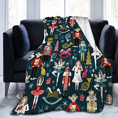 CYLOTEN 담요 여성용 호두 까기 인형 발레 크리스마스 댄스 양털 담요 접이식 던지기 담요 빨 소파 소파 퍼지 담요 뒤집을 수있는 플러시 담요 홈 오피스 용 비치 담요