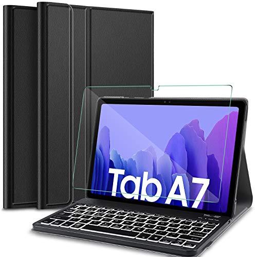 IVSO Español Teclado Compatible con Samsung Galaxy Tab A7, Protector de Pantalla para Samsung Galaxy Tab A7 T505/T500/T507 10.4 2020,Funda con 7 Colores Retroiluminado Wireless Teclado con Ñ,Negro