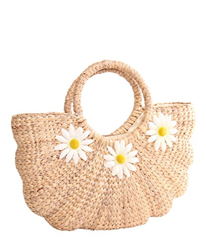 SugarShock Malea Margeriten Blüten Bast Damen Handtasche, Farbe:natur
