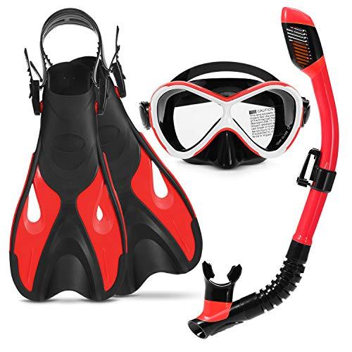 RatenKont Kit de Snorkeling Gafas de natación Snorkel Seco Tubo Aletas Ajustables Piscina para Adultos Piscina Flotador Red S/M