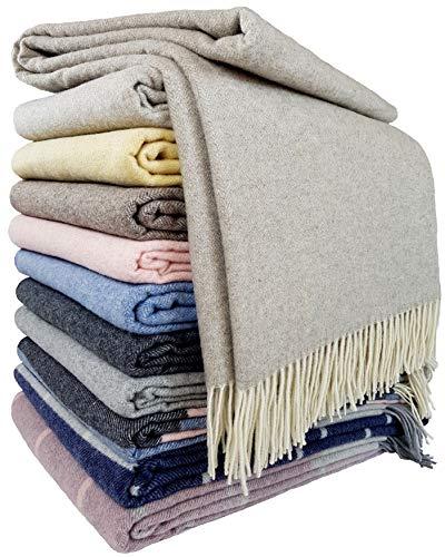 STTS International Coperta in lana cashmere 100% lana merino – Cashmere – Mix 140 x 200 cm molto morbida coperta plaid Faro (beige-grigio (5)