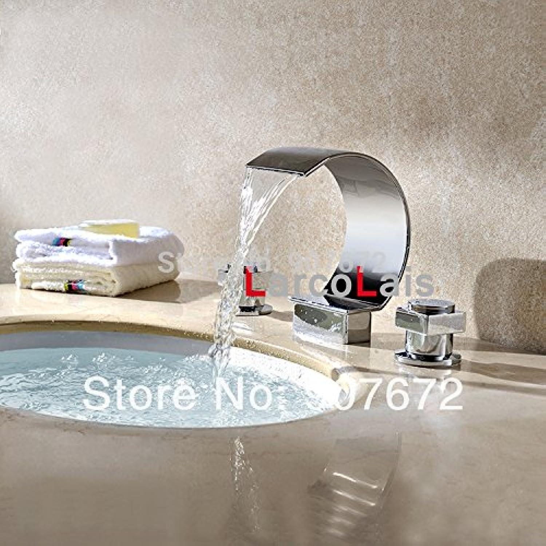 Ddlli Bathroom Kitchen Sink Tap Tap Kitchen Bathroom Brass Tap Larcolais Waterfall Roman Bath Bathroom Two-Handle Bathroom Sink Basin Mixer Tap Vessel Widespread Chrome Finish Brass Tap, Chrome