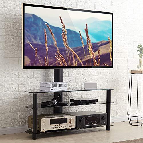 RFIVER Universal TV Ständer 110 cm breit für 32-65 Zoll Fernsehständer Rack Fernsehtisch Glas Tisch Fernsehschrank Eckschrank Möbel Ecke Schwenkbar Höhenverstellbar mit 3 Platten Schwarz TW1002