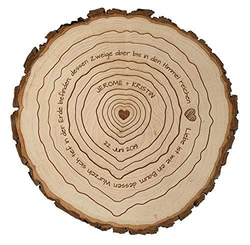 Baumscheibe mit Gravur zur Hochzeit - Motiv Jahresringe Baumringe + Spruch | Namen & Datum personalisierbar | Verschiedene Größen (24-27 cm Durchmesser)