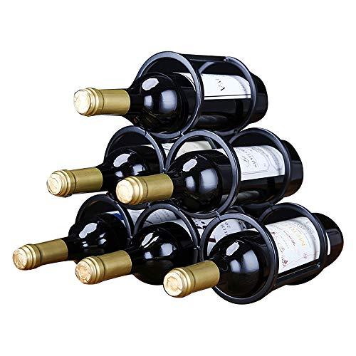 MUHONG Round Wall Wine Holder Decoration Creative Wine Rack 6 Grid Design Home Wine Bottle Rack Display Rack Wine Cabinet Decoration Living Room Wine Rack Storage Wine Rack (Black)