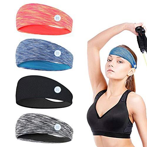 StirnbandDamen,StirnbandHerren,Stirnband Sport,4 Stück Yoga Haarband,Sport Schweißband für Laufen, Radfahren,Basketball - Dehnbar Feuchtigkeit Wicking Haarband mädchen