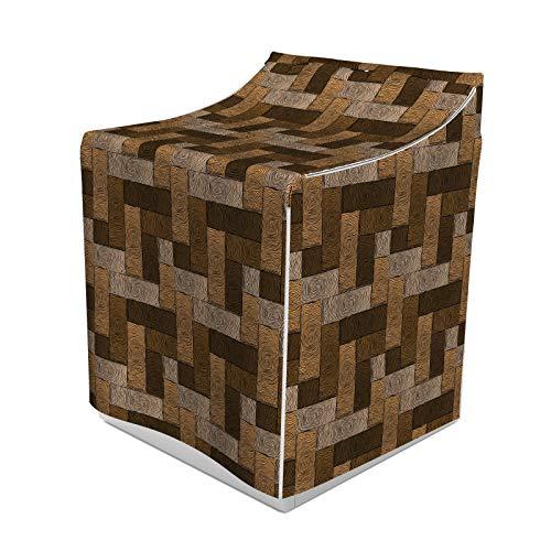 ABAKUHAUS Schokolade Waschmaschienen und Trockner, Parkett-Muster in Holz-Art-Geometric Design in Nature Inspired Art, Bezug Dekorativ aus Stoff, 70x75x100 cm, Beige Pale Brown